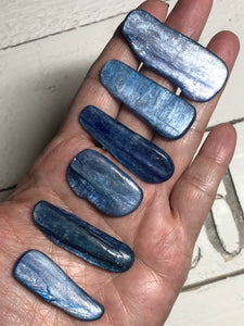 Set of 6 blue kyanite polished blades gridding points