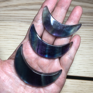 Rainbow fluorite crescent moon charging plate ZB3