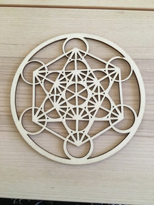 Metatron laser cut wood grid - The7directions