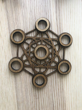 Load image into Gallery viewer, Metatron sacred geometry wood sphere holder YAC - The7directions