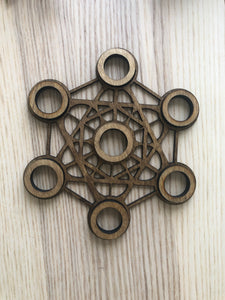 Metatron sacred geometry wood sphere holder YAC - The7directions