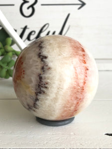 69mm Red White Calcite Onyx Sphere SA5 Calming - The7directions