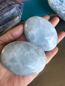 Large Blue Calcite palm stone - The7directions