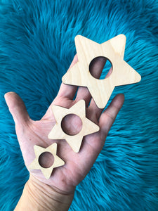 Set of 3 Wood stars Mini sphere holders