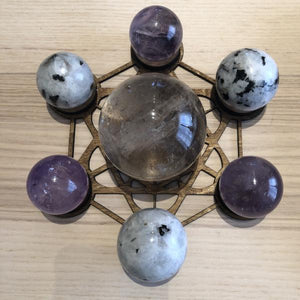 Metatron laser cut wood  sphere holder grid - The7directions