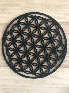 Charcoal color felt flower of life grid root chakra