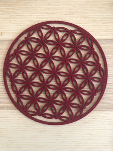 Burgundy color felt flower of life grid sacral root chakra - The7directions