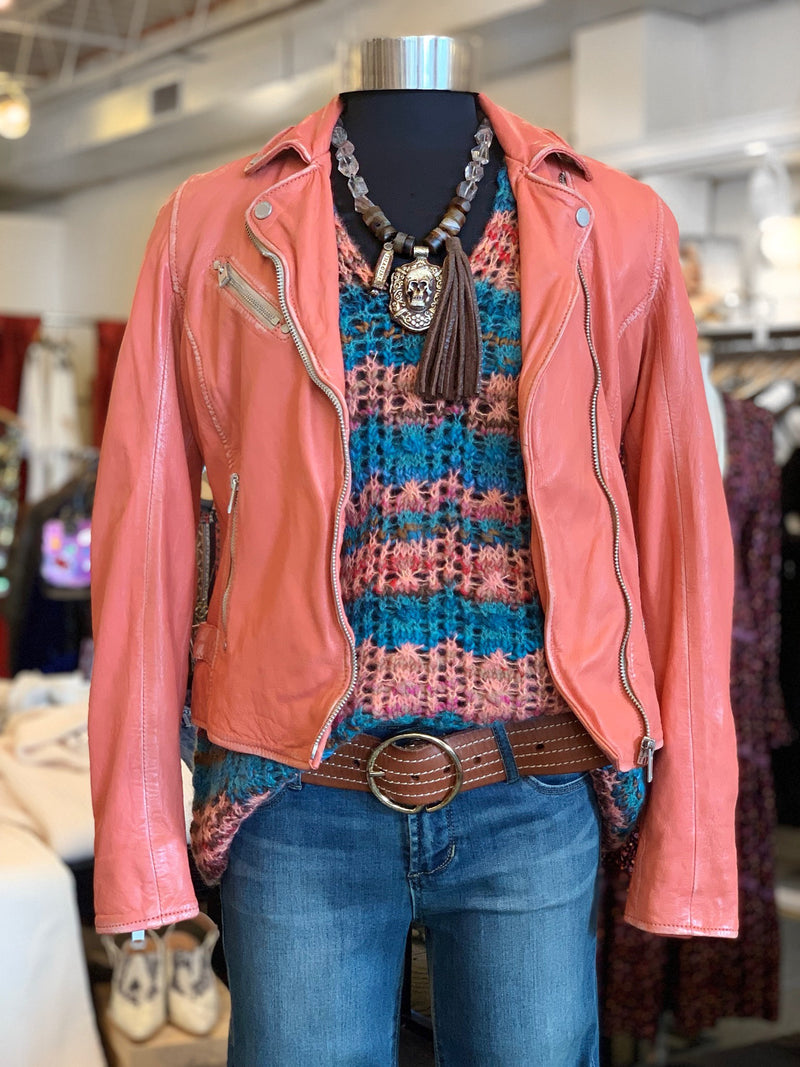 Sofia Leather Jacket - Coral