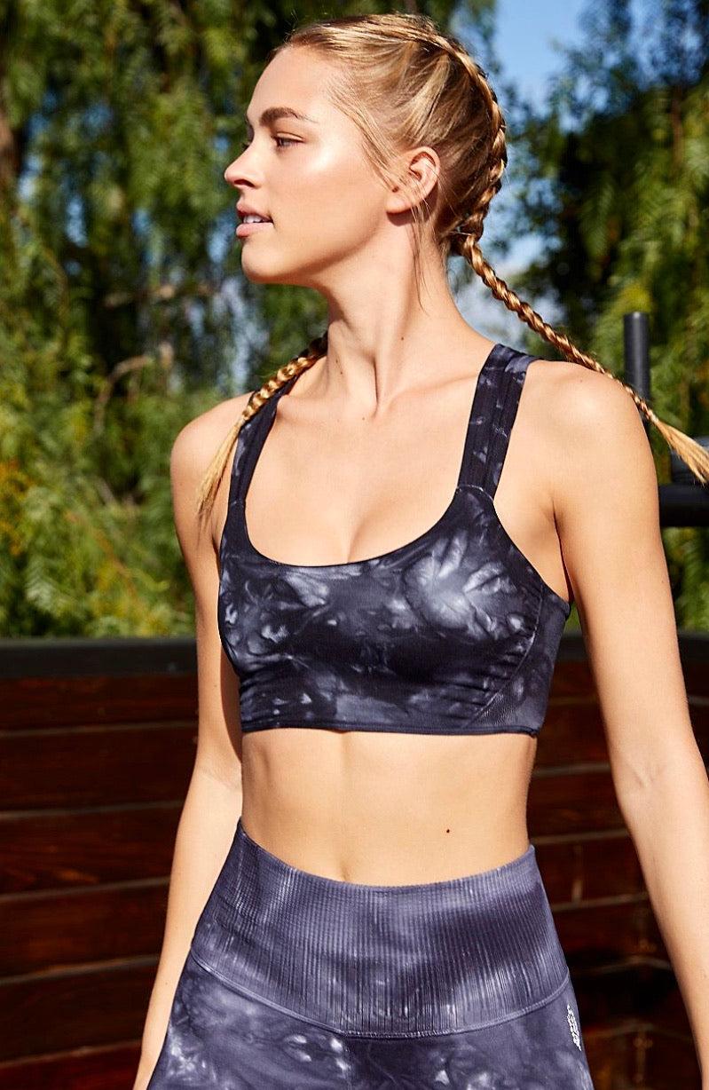 Feel Good Black Tie Dye Sports Bra