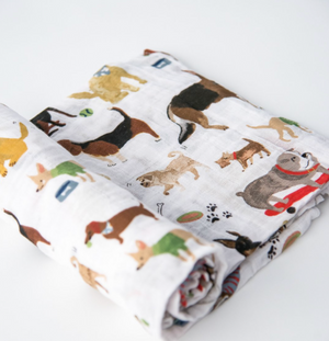 Dog Print - Cotton Muslin Swaddle Blanket