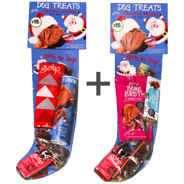 Dog Christmas Stocking - BUY 2 and SAVE - Bone Broth immunity w/ Calming Protein Bar and Probiotic Beef Jerky Chews