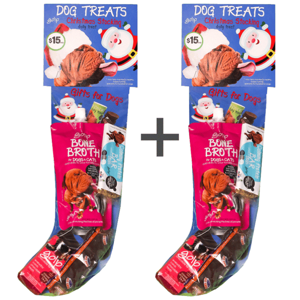 Dog Christmas Stocking - BUY 2 and SAVE - Bone Broth immunity w/ Calming Protein Bar