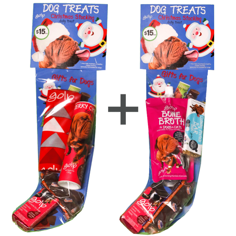 Dog Christmas Stocking - BUY 2 and SAVE - Bone Broth immunity w/ Calming Protein Bar and Skin and Coat Jerky Chews