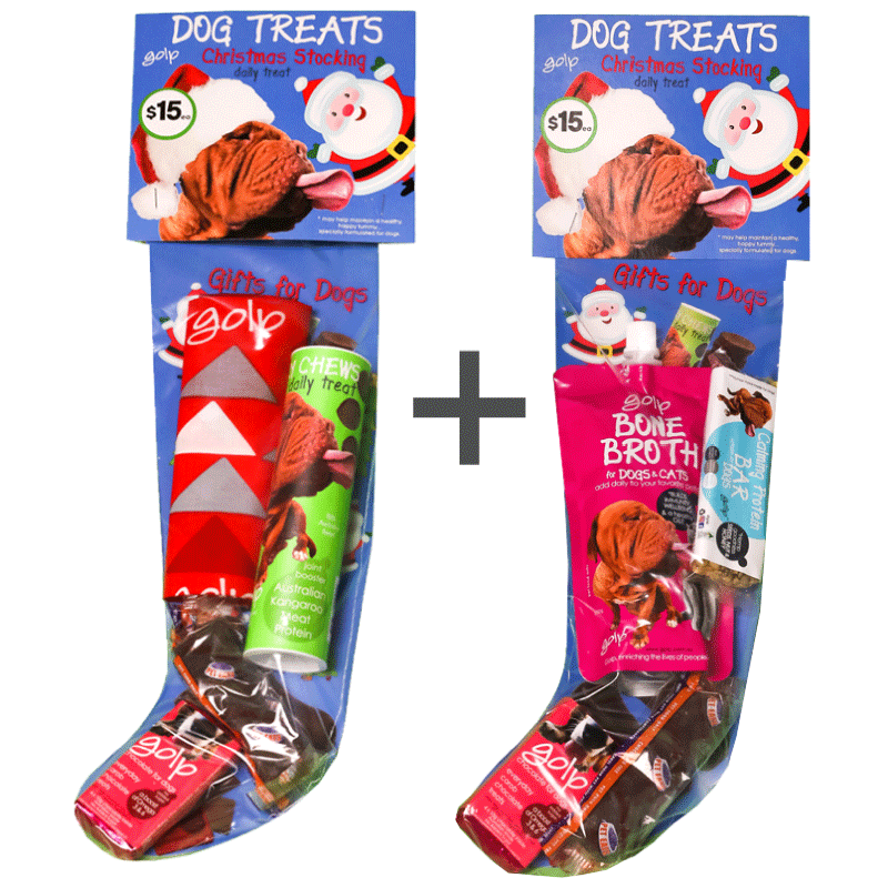 Dog Christmas Stocking - BUY 2 and SAVE - Bone Broth immunity w/ Calming Protein Bar and Joint Formula Jerky Chews
