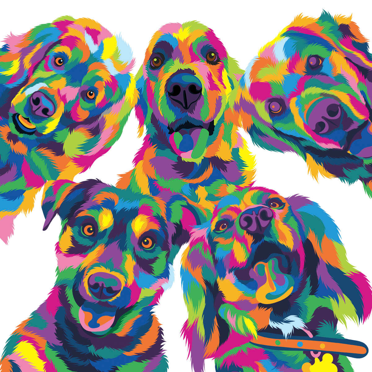 Custom steven brown colourful pet art
