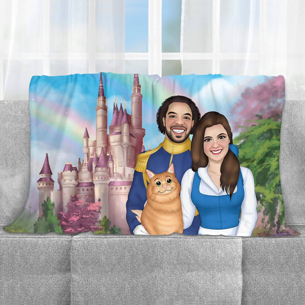 CUSTOM CARTOON STYLE FAMILY FLEECE BLANKET