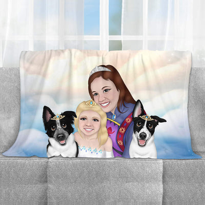 CUSTOM CARTOON STYLE FAMILY FLEECE BLANKET.