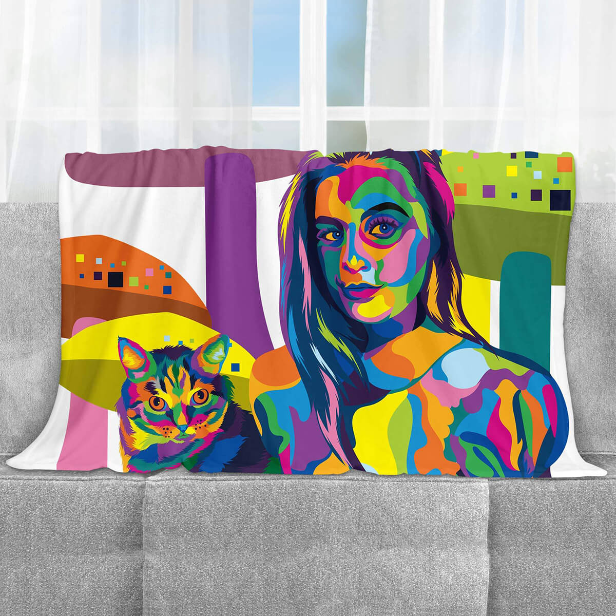 CUSTOM COLOURFUL STYLE FAMILY FLEECE BLANKET