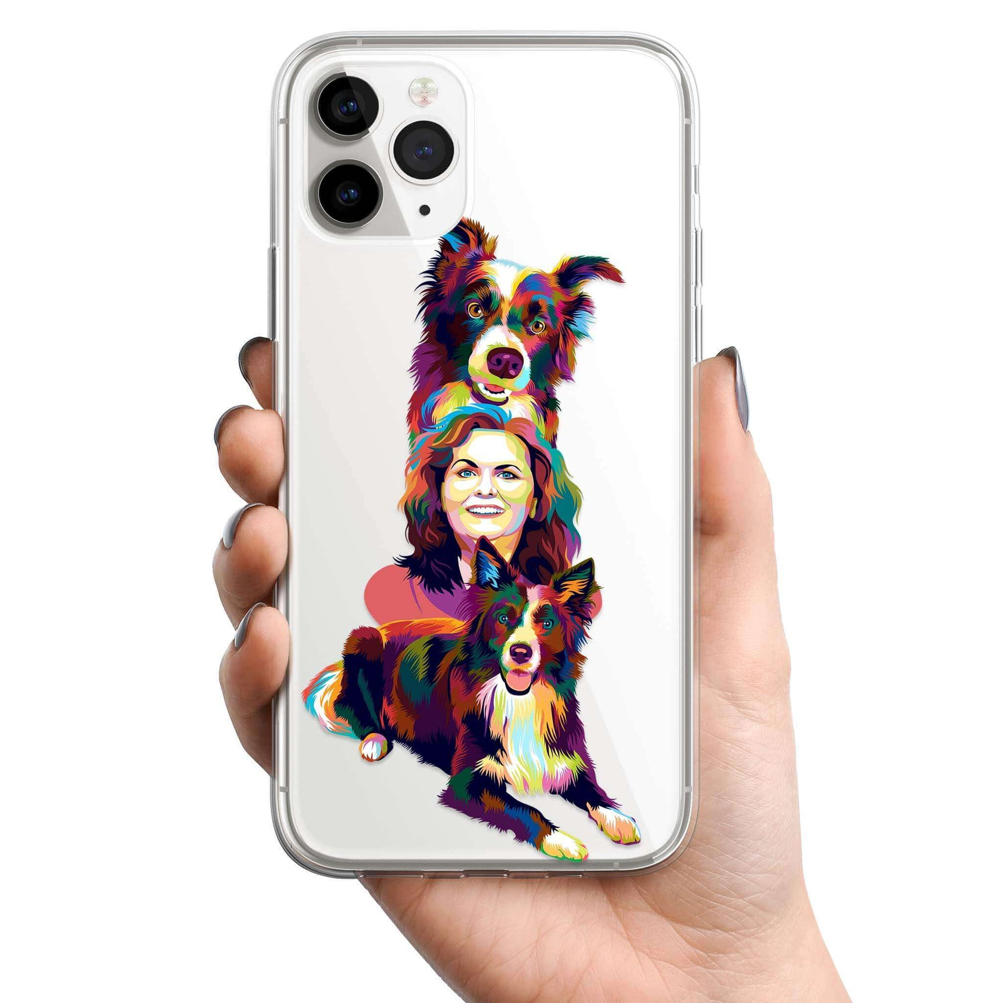CUSTOM COLOURFUL STYLE FAMILY CLEAR PHONE CASE