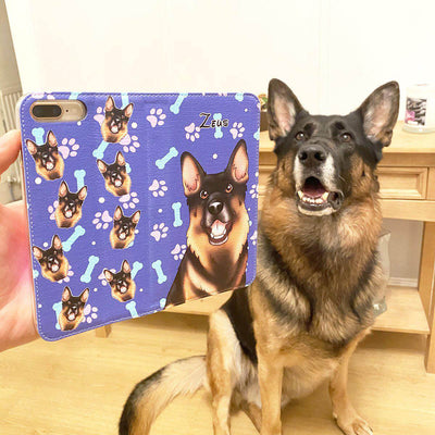 PET CREATIONS PET CARTOON STYLE WALLET PHONE CASE