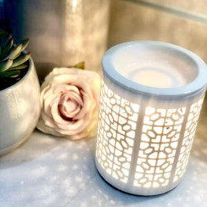 Electric Wax Warmer - Trellis Style White Cut Out Warmer