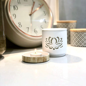 Lotus Flower White Cut Out Wax Melt Burner