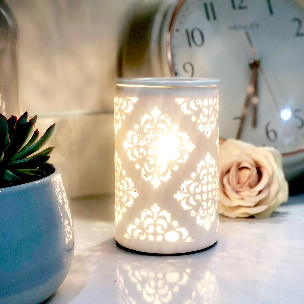 Electric Wax Warmer - Moroccan Style White Cut Out Warmer