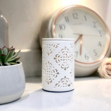 Load image into Gallery viewer, Electric Wax Warmer - Moroccan Style White Cut Out Warmer