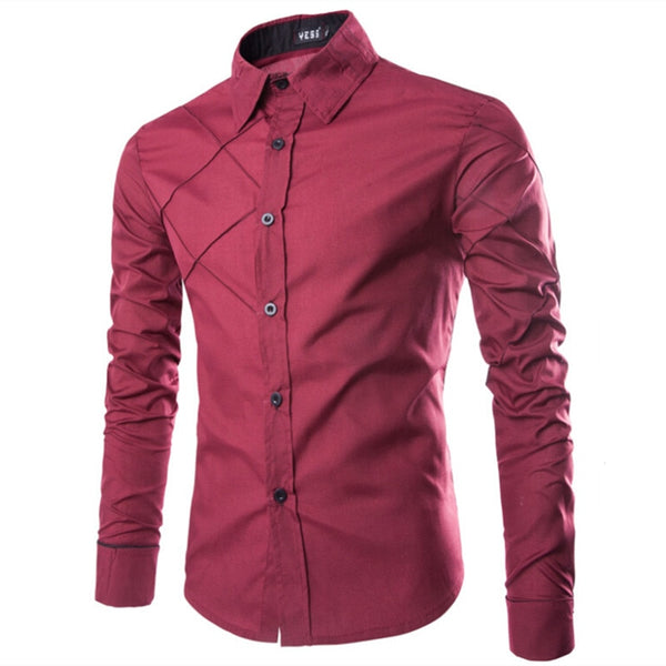 Mens Shirts Fashion Plaid Shirt Slim Fit Male Social Shirts Long Sleeve Brand Clothing Chemise Homme ,ux32