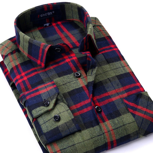 Plaid Shirt 2019 New Autumn Winter Flannel Red Checkered Shirt Men Shirts Long Sleeve Chemise Homme Cotton Male Check Shirts 1