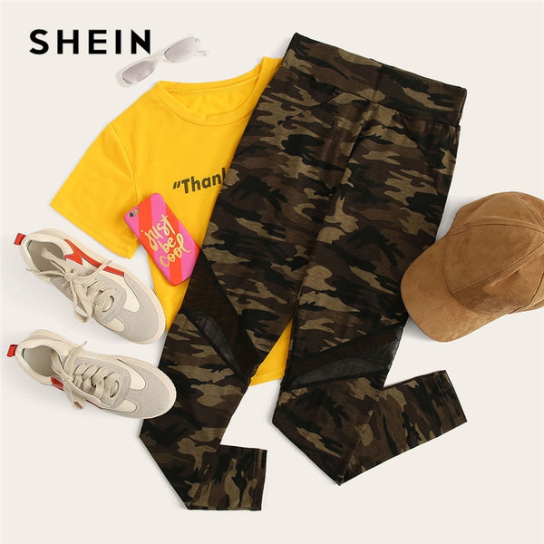 SHEIN Multicolor Mesh Insert Camo Print Leggings Sporting Patchwork Sheer Crop Pants Women Autumn Athleisure Leggings