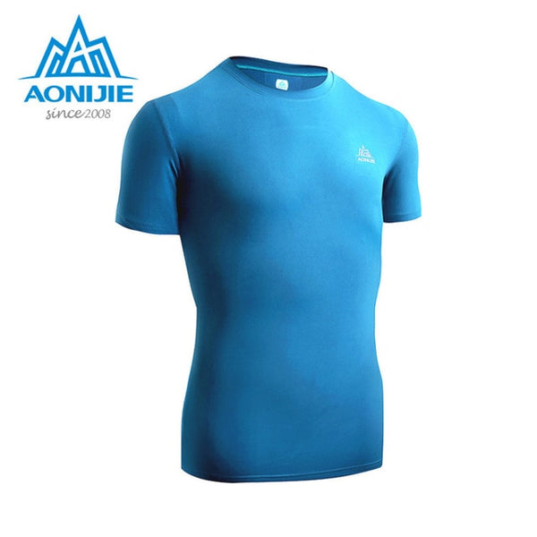 AONIJIE Quick dry Running t shirt men brand clothing Sports summer short sleeves male top Fitness brearthable Tee