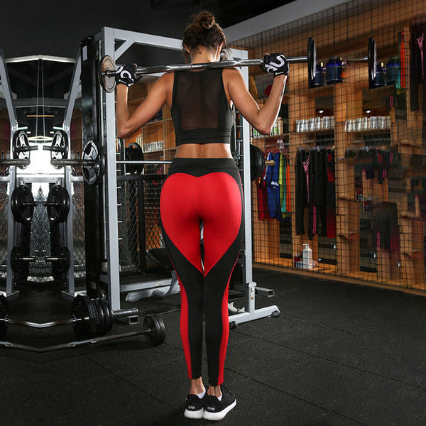 Heart pattern mesh splice legging harajuku athleisure fitness clothing sportswear elastic push up leggings women pants