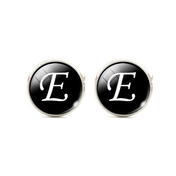 Letters Glass Alloy Shirt Cuff Links