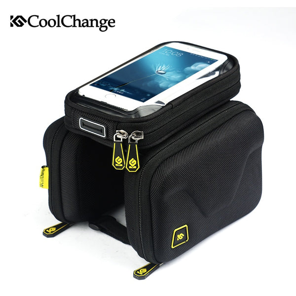 6.2 Inch Touch Screen Bicycle Bag Front Frame Top Cell Phone TPU Cycling Bag Double Pouch MTB
