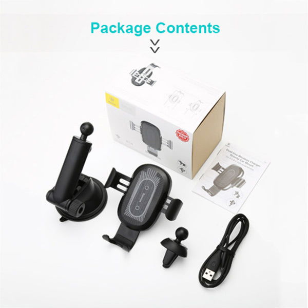 2 in1 Qi Car Mount Phone Holder Quick Wireless Car Charger for iPhone XS Max Samsung S8