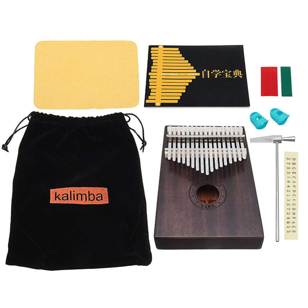 17 Key Kalimba African solid Mahogany Thumb Finger Piano With Bag and Learning Book