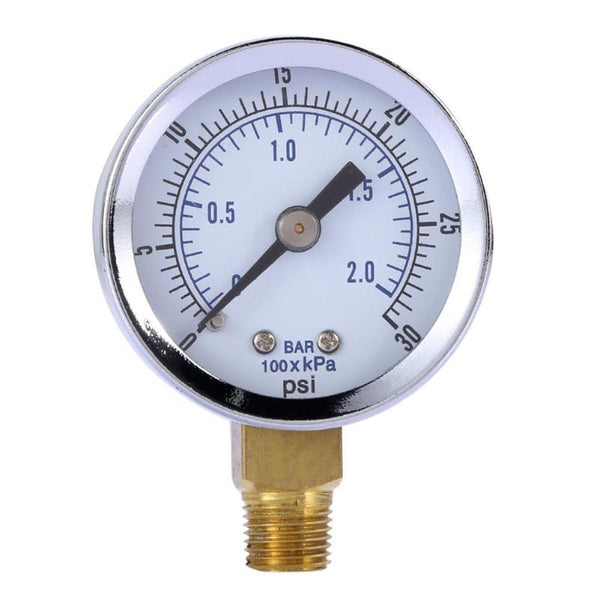 Air Compressor / Hydraulic Pressure Gauge 0-30 PSI Side Mount
