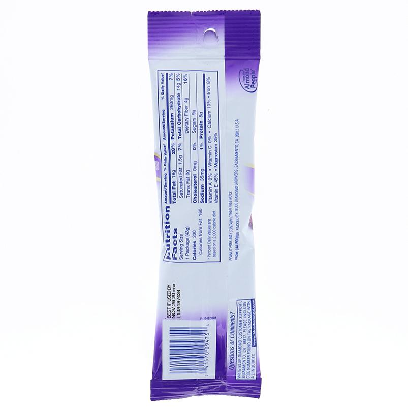 Blue Diamond Almonds Blueberry Tube 1.5 Oz
