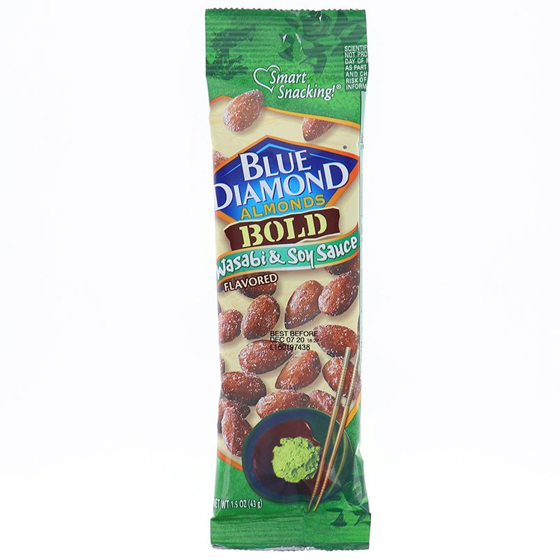 Blue Diamond Almonds Wasabi & Soy Sauce Tube 1.5 Oz