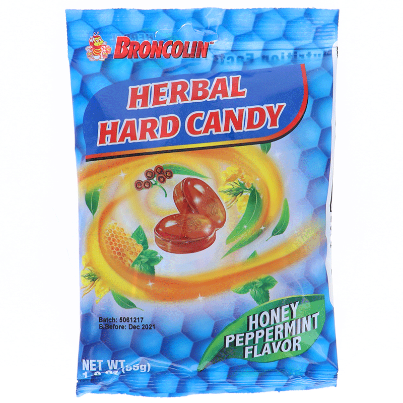 Broncolin Herbal Honey Eucalyptus Hard Candy - Bag 1.9oz
