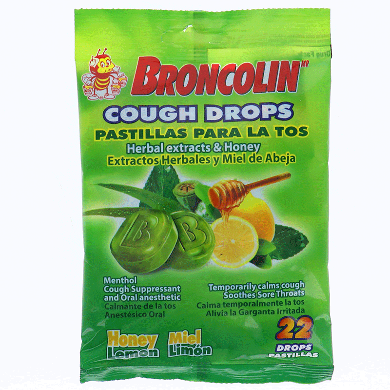Broncolin Herbal Honey Lemon Hard Candy - Bag 1.9oz