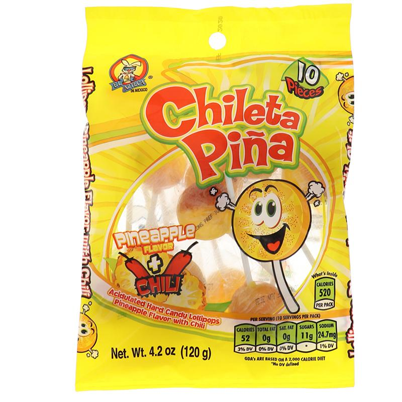 El Azteca Chileta Lollipops Pina With Chili - Bag 5.6oz