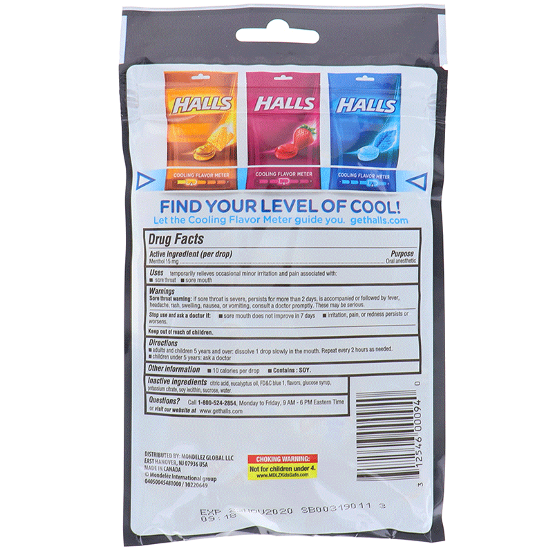 Halls Extra Strong Menthol - Bag 30drops