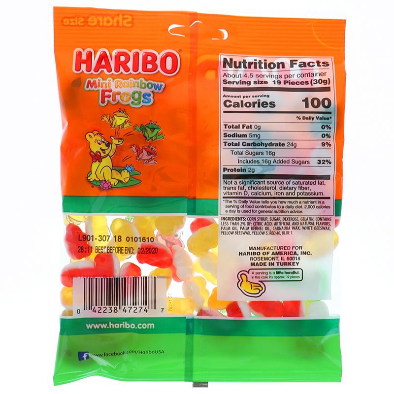 Haribo Peg Bag Mini Rainbow Frog Gumi Candy 5 Oz