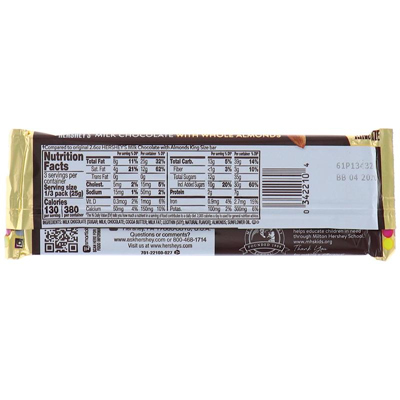 Hersheys King Size Milk Chocolate With Almonds 2.6oz