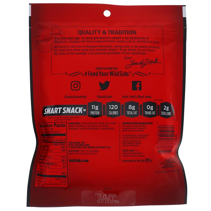Jack Link Bacon Jerkey Hickory Smoked - Bag 2.85oz