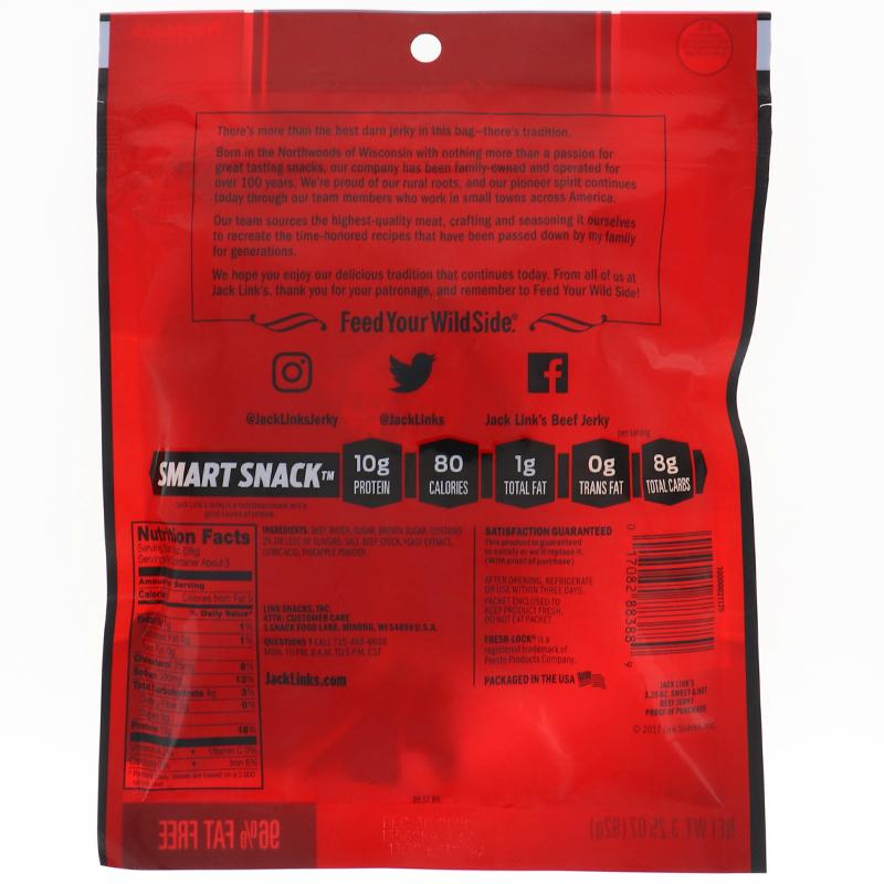 Jack Link Beef Jerky Sweet & Hot - Bag 3.25oz