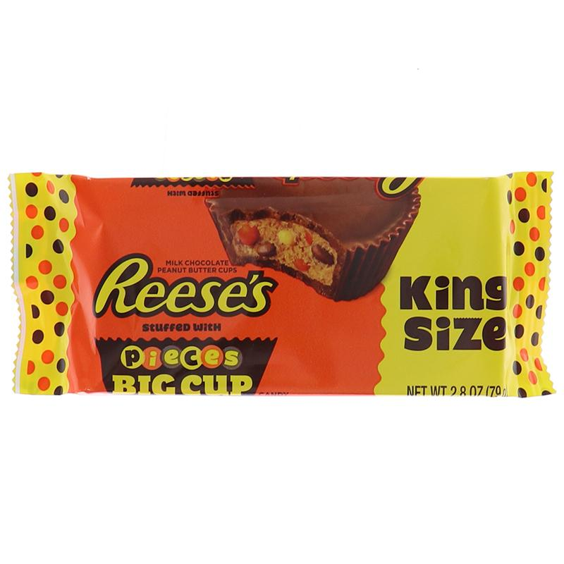 Reeses King Size Peanut Butter Cups With Reeses Pieces 2.8 Oz