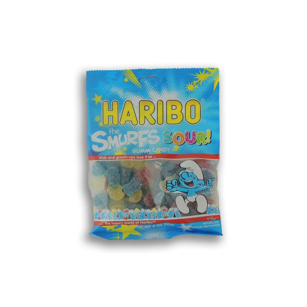 Haribo Peg Bag Sour Smurfs Gumi 4 Oz